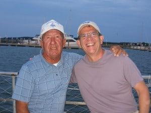 Captain Wade Murphy and Doug on the Rebecca T. Ruark Skipjack